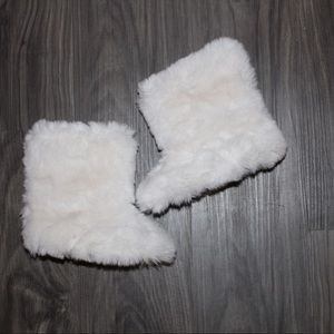 White Faux Fur Boots